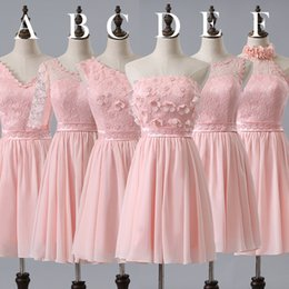 Wholesale Girl Mini Skirts Up Parties - 2017 Short Stylish Pink Bridesmaid Skirt Chiffon Lace Sweet Cute Homecoming Dress Allure Girls Pageant Gown Prom Cocktail Party Dress