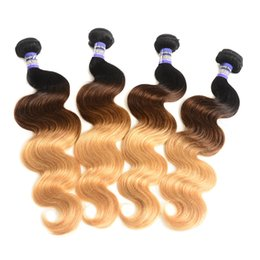 Wholesale 1b 27 Hair - Ombre hair Brazilian virgin Human Hair Bundles 1b 4 27 Three Tone Color body wave weave extension 10 to 28 Inches hair wefts