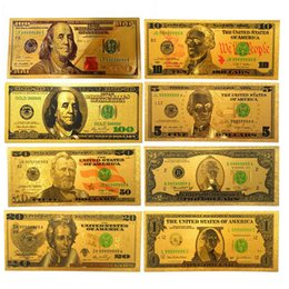 Wholesale Plastic Souvenirs - 8Pcs set US Colorful 24K Gold Foil Dollars Bills Double Currency Gifts American Souvenir Banknotes Holiday Home Decoration Arts Collection