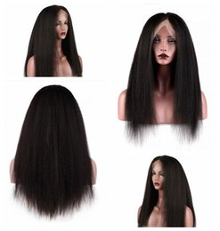 Wholesale Kinky Straight Lace Wigs - Natural Hairline Black Brown Kinky Yaki Long Straight Lace Wigs for Black Women Heat Resistant Synthetic Lace Front Wigs with Baby Hair