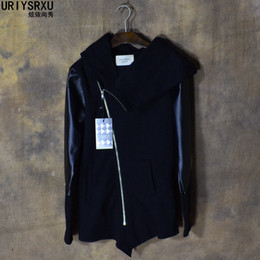 Wholesale Inclined Zipper Jacket - Wholesale-Cultivate Morality Fashion Men Hoodies Leather Sleeve Splicing Inclined Zipper Hooded Big Yards Fleece Jackets