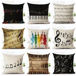 Wholesale Green Black Throw Cushions - Music Series Note Printed Linen Cotton Square 45x45cm Home Decor Houseware Throw Pillow Cushion