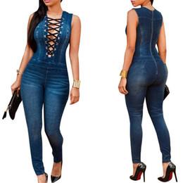 Wholesale Jean Rompers - Wholesale- denim jumpsuit women Sexy Rompers Front tie up Sleeveless blue jean bodysuit skinny