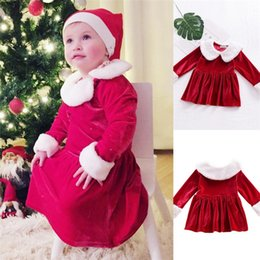 Wholesale Girls Party Bubble Skirt Dresses - INS Christmas Party Cosplay Costume Dress Baby Girls Long Sleeve Red Bubble Skirts Kids Princess Dresses Winter Clothing
