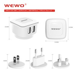 Wholesale Chinese Tablets Uk - USB Wall Charger 2.4A 2Port UK EU US Standard WEWO Phone Chargers Plugs Travel Universal Dual USB Charger Portable for iPhone 8 X Tablet