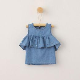 Wholesale Pearl Neck Top - Kids Shirt Summer Girl Off Shoulder Shirts Kids Pearl Denim Lotus Sleeve Top Baby Girl Summer Clothing