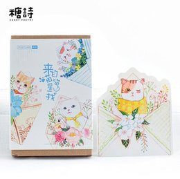 Wholesale Greeting Card Packs - Wholesale- 30 pcs pack Come From Flower Meow Star Cat Greeting Card Postcard Birthday Letter Envelope Gift Card Set Message Card