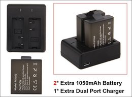 Wholesale Sports Camcorders - 2Pcs 1050mah Rechargeable Battery Charger + Dual Travel Charger For EKEN H9 H9R H3 H3R H8PRO H8R H8 pro SJCAM SJ4000 SJ5000 Sports Camera