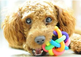 Canada 6CM Pet Puppy Dog Cat Training Palying Toy Chewing Coloré Soft Rubber Round Ball Avec Bells pet suppies colorful ball soft promotion Offre