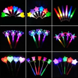 Wholesale Big Lollipops - Creative LED Light Sticks Glow Stick Smiling Face Five-pointed Star Moon Lollipop Concert Stick Light Sticks Wholesale
