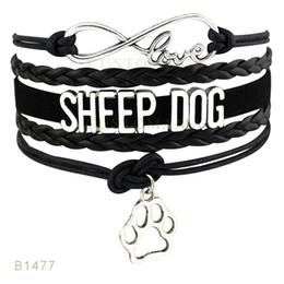 Wholesale Paw Charm Blue - (10 Pieces Lot) Infinty Love Sheep Labrador Dog Paw Charm Bracelets Leather Wrap Black Pink Mint Blue Light Blue Bracelets Drop Shipping
