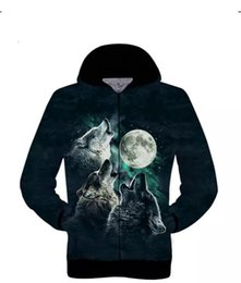Wholesale Wolf Print Hoodies - Galaxy Space Men Hoodie Wolf Moon 3D Printing Sweatshirt Fashion Autumn Winter Hooded Zipper Pullovers Cool Male Outerwear Coats