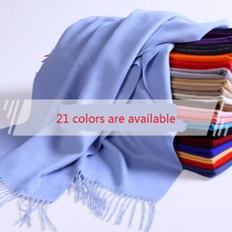 Wholesale Thick Blankets For Winter - 20 Colors Wool Blanket Scarf For Women Winter Thick Warm Scarf Solid Pashminas Shawls Couple Women's Girls Ladies Scarves Silk Solid Shawl A