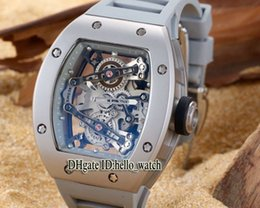 Wholesale High Quality Skeleton Watches - High Quality Luxury Brand New PVD Gray RM038 RM38 Automatic Bubba Watson Skeleton Men's Watch Gray Rubber Strap Sport Gents Watches