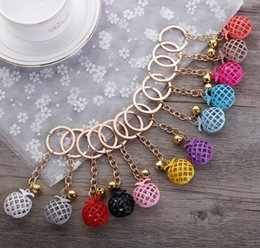 Wholesale Woman Vase - Metal Gold key ring Hollow out colorful vase Apple keychain Charm Pendant Jewelry Trinket Bag Aceessory best gift aa406