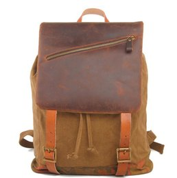 Wholesale Cool Canvas Backpacks - Retro backpack travel bag tide cool man and woman bag wash with crazy horse leather double shoulder bag