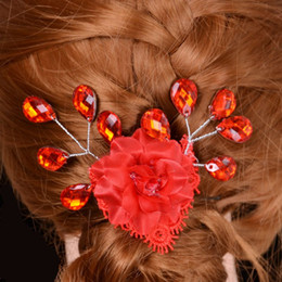 Wholesale Wholesale Luxury Prom - Luxury Vintage Prom Pageant Wedding Red Tiaras Delicate Red Lace Hairband Bridal Rhinestone Pageant Tiaras Hair Jewelry