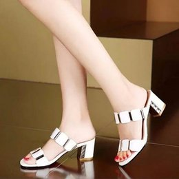Wholesale White Chunky Platform Sandals - 2016 New Rhinestone Sandals Women Thick Heel Slippers Woman Open Toe Platform Wedges Summer Shoes Woman Pumps Flip Flops Plus