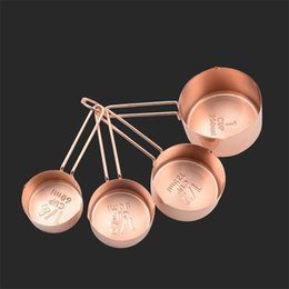 Wholesale 24 Cups - Rose Gold Coffee Measuring Spoon Kitchen Baking Tool For Multi Function Stainless Steel Measurings Cups 24 8fl C R