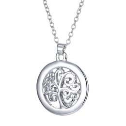 Wholesale Antique Sterling Silver Chains - 925 Sterling Silver Personalized Tree Of Life Pendant Necklaces In Antique Letter Used As Gift for Mom