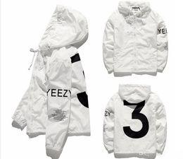 Wholesale Men Jacket Waterproof Windbreaker - KANYE Jacket Hip Hop Windbreaker TOUR 3 Zipper Jacket US Size Men Waterproof Streetwear Outerwear uniform coat YEEZUS Y3 Jacket With Logo