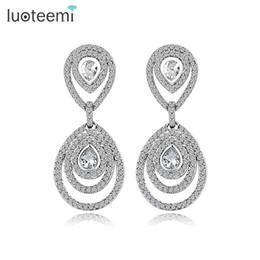 Wholesale Bridal Earrings Diamond Chandelier - LUOTEEMI New Fashion Cz Diamond Trendy Water Drop Women Geometry Statement Jewelry For Wedding Bridal Gift Chandelier Earring