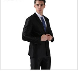 Wholesale Three Button Cotton Blazer - (Jackets+Pants) 2016 New Men Suits Slim Custom Fit Tuxedo Brand Fashion Bridegroon Business Dress Wedding Suits Blazer H0285 AOP--002