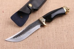 Wholesale Hand Forging Knives - Top Quality China Brand Pure Hand Made Forged steel Bowie Blade Hunting Knife HRC58-60 Satin Blade Natural Ebony Handle Outdoor Rescue Knife