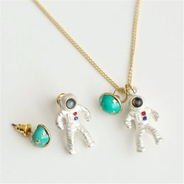Wholesale Jewelry Silver Japan - Wholesale-Darker 1pc japan woman silver plated exclusive astronaut planet pendant necklaces unique chic clavicle chains for womens jewelry