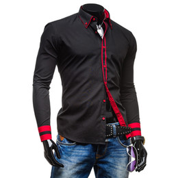 Wholesale Unique Designs Mens Shirts - Wholesale- SYB-New Mens Long Sleeved Dress Shirts Collar Button Unique Design Slim Fit Shirts