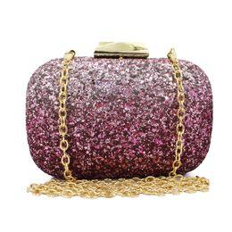 Wholesale Women S Fashion Purses - Wholesale- fuchsia fashion design s party sequin clutch with chain evening bag ladies purse(C112)