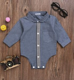Wholesale Cotton Button Shirt For Baby - Gentleman Blazers Long Sleeve Romper Shirt Dress for Baby Boys Cotton Flax Dark Grey single-breasted Leisure Baby Kids Clothes Wholesale