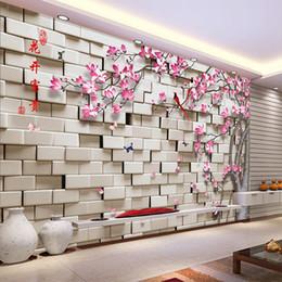 Dimensione rullo carta da parati online-All'ingrosso-Personalizzato Qualsiasi dimensione 3D Stereoscopico Geometriche Piazze Fiore Albero Soggiorno Divano TV Sfondo muro Murale Decor Wallpaper Roll