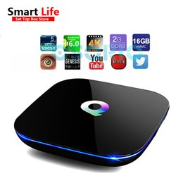Wholesale Internet Hd - 1 PCS 2GB 16GB Q-Box Android 6.0 Smart Internet IPTV BOX Amlogic s905X Streaming Media Player 4K Wifi Add-Ons pre-installed Android OTT Box