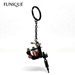 Wholesale Tattoo Keys - FUNIQUE Gunmetal Mini Tattoo Machine trinket Charm keychain Key Ring For Men Women key chains Jewelry Gifts chaveiro 15cmx4cm