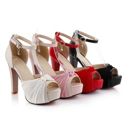 Wholesale Thick Heeled Wedding Shoes - Luxury wedding shoes elegant bridal shoes pumps platform high thick heels women party shoes2017 size 34 to 43