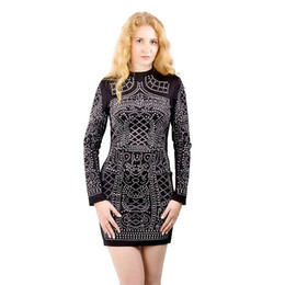 Wholesale Tight Black Turtleneck - Fashion Sexy Geometric Pattern Rhinestone Turtleneck long-sleeved bodycon tight dress party dress ZC004