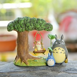 Wholesale Cat Swing - Action Figures Miyazaki Jade Dragon Cat Swinging Little Plum Chime With Leaves Blue Dragon Cat Hand DIY Micro Landscape