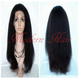 Wholesale Long Lace Front Wigs Cheap - Heavy Density Long Italian Yaki Kinky Straight Synthetic Lace Front   Full Lace Wig Heat Resistant Fiber For Fashion Black Women Cheap Wigs