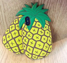Wholesale Pineapple Cover - New 3D Fruit Pineapple Phone Back Cover Cases For iphone 5 SE 6 6S 7 7 Plus Soft Silicon Goophone X i8 plus