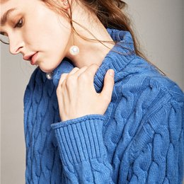 Wholesale Ladies Jackets Sweaters - High-end autumn and winter thick pure cashmere sweater twist twisted high-necked sweater ladies twist sweater jacket Europe and the United S