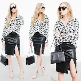 Wholesale Front Mini Skirt - 2015 Women Bodycon Skirt PU Leather Zipper ,Front High Split Mini Short Skirt saia plus size women clothing saias femininas