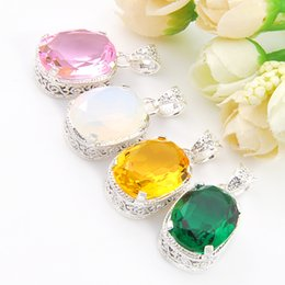 Wholesale China Choice - 6Pcs lot Hot sell Gemstone Jewelry Pendant Multiple Choice 925 Silver yellow Topaz Pink Quartz Gemstone Pendant