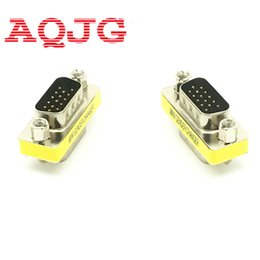 Wholesale new vga cable - Wholesale- New Male to Male VGA HD15 Pin Gender Changer Convertor Adapter hot selling AQJG