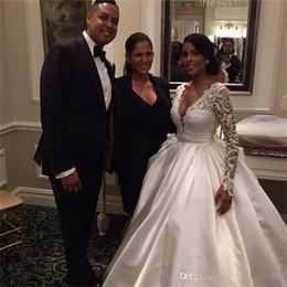 Wholesale Sexy Deep Slit Skirt - Sexy Deep V-Neck Ball Gown Satin Wedding Dresses 2017 Vestidos De Noiva Long Sleeve Lace Wedding Dresses Bridal Gowns