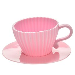 Wholesale Tea Moulds - Chocolate Tea Cup Case Mold with saucers 4pcs White Pink Silicone Cupcake Cups Cake Mold Muffin Baking Mould