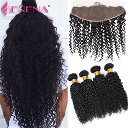 Wholesale Deep Curly Lace Closure - Brazilian Virgin Weave With Closure Virgin Hair 4 Bundles With Closure Ear To Ear Lace Frontal With Bundles Deep Curly Human Hair Weave