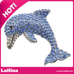 Wholesale Crystal Safety Pins - Large Brooches Rhinestone Blue Dolphin Brooch, Animal Safety Pin, Metal Broch Brosche