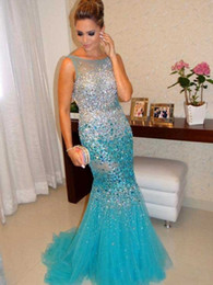 Wholesale Heavy Evening Gowns - 2017 Luxury Heavy Crystal Beading South African Prom Dress Celeberity Mermaid Tulle Arabic Evening Party Gown Custom Made Plus Size