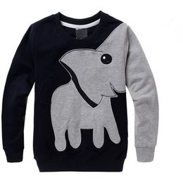 Wholesale Summer Christmas T Shirt - long sleeve boys swearshirt high quality elephant print gray black colors kids clothing tops children hot selling t-shirts fast shipping